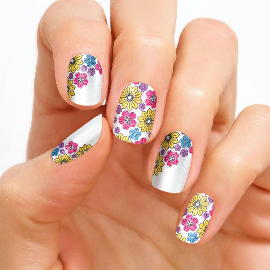 Bright Floral Nail Polish Strips