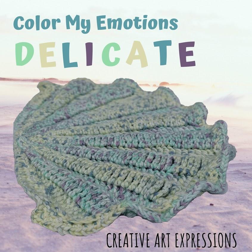 Crocheted Seashell Hand Towel in Yellow, Purple, Blue, Green