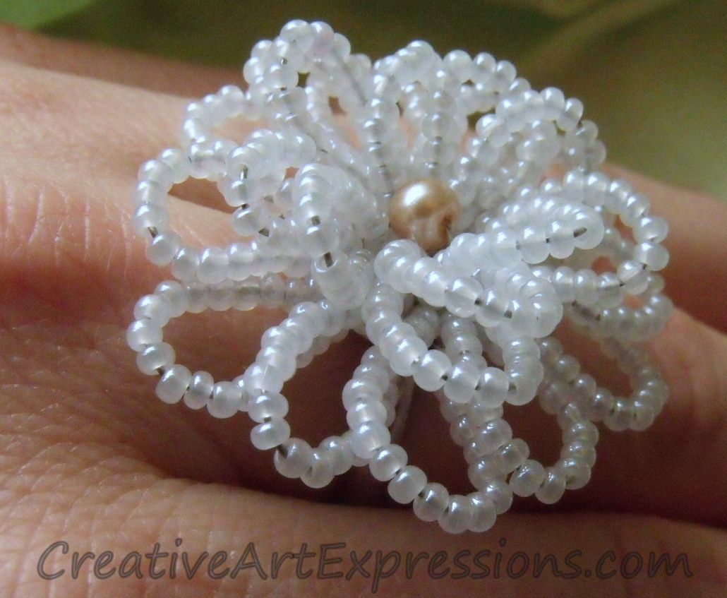 Creative Art Expressions Handmade White Seed Bead Flower Ring